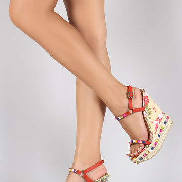 Spiked Braided Espadrille Floral Wedge