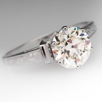Crown Setting Vintage 1.7 Carat Transitional Diamond Solitaire Ring