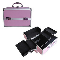 "BerucciTM Professional Pink 10"" Lightweight Aluminum Makeup Artist Organizer Kit with 4 Extendable Trays, Aluminum Trimming, Lock and Keys, and Shoulder Strap"
