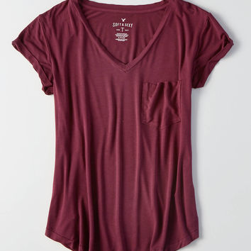 AEO Soft & Sexy V-Neck Favorite T-Shirt, Burgundy