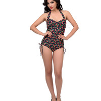 Unique Vintage Westerly Black Cherry Print One-Piece Swimsuit