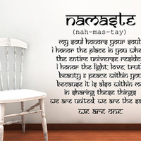 Wall Decals Quotes Vinyl Sticker Decal Art Home Decor Mural Buddha Quote Wall Decal Sign Words Namaste Yoga Mandala Bedroom Dorm Gift AN722