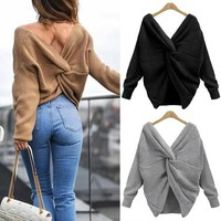 New Fall Clothes Women Sweater V Neck Backless Sweater for Women Long Sleeve Knitted Sweater Oversize Ladies Tops