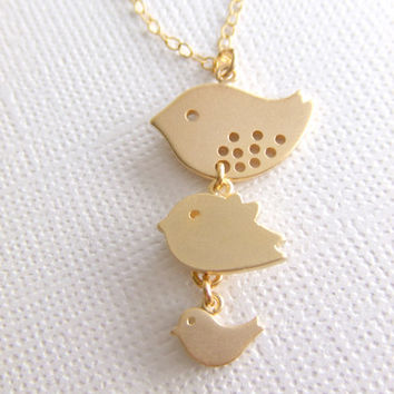 Three Birds Silver Jewelry Necklace - Mother / Daughter / Sisters - Gold Filled Jewelry