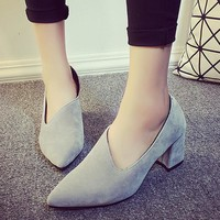 Sexy Pointed Toe Matte Korean Ladies High Heel Stylish Shoes [9432944202]