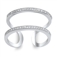 Sterling Silver Cubic Zirconia Double-Row Ring