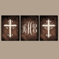 CROSS Wall Art Canvas or Prints Monogram Grunge Effect Personalized Family Initials Custom Wedding Shower Gift Couple Set of 3 Home Decor