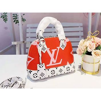 LV fashion lady print Mosaic color shell shoulder bag shopping bag Pink