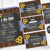 Rustic I Do BBQ Wedding Invitations Set Chalk Package Printable Invites Save The Date INSTANT DOWNLOAD Blue Check Sunflower Wood Editable