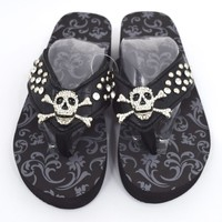 Gothic Punk Rock Crystal Skull and Crossbone Concho Metal Bling Studded Black Flip Flops