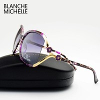 vintage flower polarized sunglasses women brand designer 2016 luxury uv400 oversized sun glasses spots oculos feminino with box