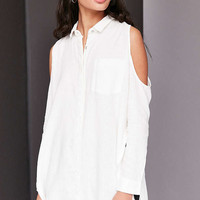 Silence + Noise Ciara Cold Shoulder Button-Down Shirt - Urban Outfitters