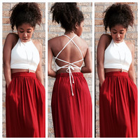 A Solid Halter Crop in Ivory