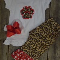 Paw Print Outfit by Mandy Lou {Red/White/Cheetah}