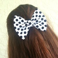 White and Black Polka Dots Hair Bow Vintage Inspired Clip Rockabilly Pin up Teen Woman Girl