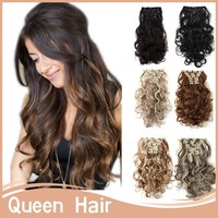 Xmas gift 7pcs/set 50'20inch Beautiful Long Curly Clip in Hair Extension Japan High Temperature Fiber Many Colors Available 150g
