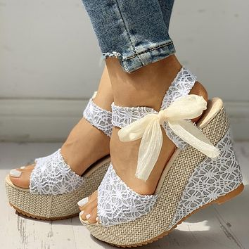 INS Hot Lace Leisure Women Wedges Heeled Women Shoes 2021 Summer Sandals Party Platform High Heels Shoes Woman
