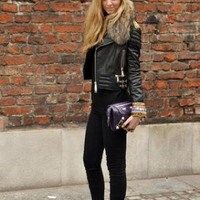 Philipp Plein Leather Jacket, Balenciaga Clutch //    Studded Converse and the perfect leather jacket by Chiara Ferragni // LOOKBOOK.nu