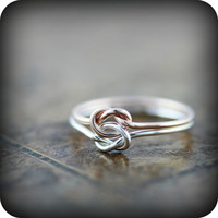 Double knot ring - silver and rose or yellow gold filled ring, friendship or promise ring