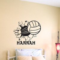 Volleyball Bursting Through Wall Vinyl Wall by imprintabledesignz