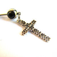 Silver Cross Belly Button Ring, Decorative Cross on Black Belly Ring