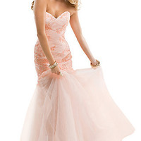 Long Strapless Dress with a Sheer Skirt by Flirt