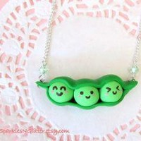 Kawaii Peas in a Pod Necklace by SparklesNGlitter on Etsy