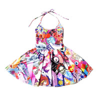 Chaotic Collage Skater Dress