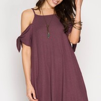 Mauve Short Sleeve Ribbed Cold Shoulder Dress (final sale)
