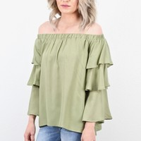 Off Shoulder Layered Ruffle Sleeve Blouse {L. Olive}