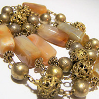 Banded Agate Necklace, Gold Tone Decorative Open Work Beads, Wire Links, Boho Beaded Necklace 1017