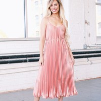 Forever Flirty Satin Pleated Midi Dress, Salmon