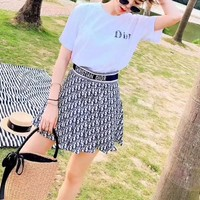 DIOR Pleated Skirt Round Neck  Women Casual Simple Fashion Two-Piece Suit Clothes