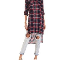 Button-Up Plaid Maxi Top by Charlotte Russe
