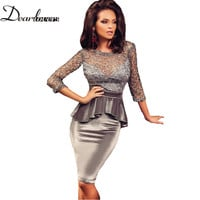 Dear lovers Three Quarters Sleeve Vintage Embroidery Peplum Party Dress Elegant Office  Formal Dresses LC22511 Vestido Renda