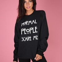 Normal People Scare Me Black Crewneck Sweatshirt
