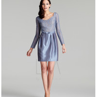 LM Collection 2013 Fall Dresses - Smoke Blue Shear Cocktail Dress