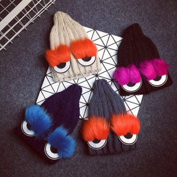 Knitted Cotton Beanie with Big Eyes