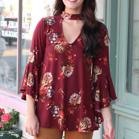 Cut Out Neck Floral Bell Sleeve Suedette Top {Wine}