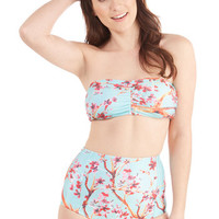 ModCloth Pastel High Waist Lively to See You Two-Piece Swimsuit in Garden
