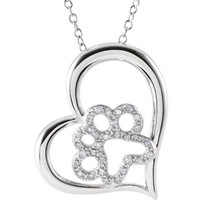 """ASPCA Tender Voices® Sterling Silver 1/6 CTW Diamond Heart Paw 18"""" Necklace"""