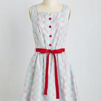 Mid-length Short Sleeves A-line Be There in Two Flakes Dress