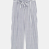 STRIPED TROUSERS WITH TIE BELT DETAILS