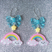 Sweet Skies II - Happy Cloud and Rainbow with Star and Bow Earrings