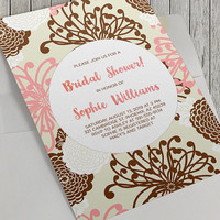 Printable Bridal Shower Invitation, Pink and Brown Floral Bridal Shower, 5x7 In, Elegant Bride, Wedding, Baby Shower and Birthday Options