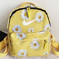 NIKE New fashion floral hook print backpack bag book bag Yellow