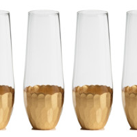 Stemless Gold Textured Metallic Champagne Glasses, Set of 4