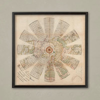 WORLD MAP MAGNETIC Atlas, Variation Chart, Old Map, World Globe, Churchman Map, Wall Map, Large Map, Home Staging, Model Home Art, Wall Art