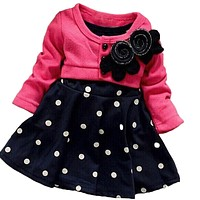 Spring Autumn Baby girl dresses Kids Children Clothes Splicing Polka Dots Dress Girls Party Dress