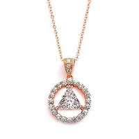 Mariell 14K Rose Gold Plated AA Recovery Necklace CZ Unity Pendant - Great Jewelry Gift for Sober Women